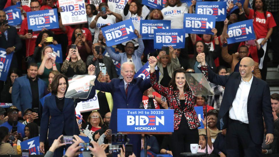 Joe Biden, Kamala Harris, Gretchen Whitmer and Cory Booker at a Joe Biden rally