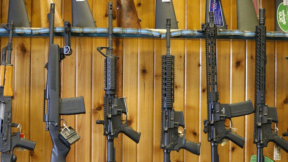 """Semi-automatic AR-15""""s are for sale at Good Guys Guns ^ Range on February 15, 2018 in Orem, Utah"""