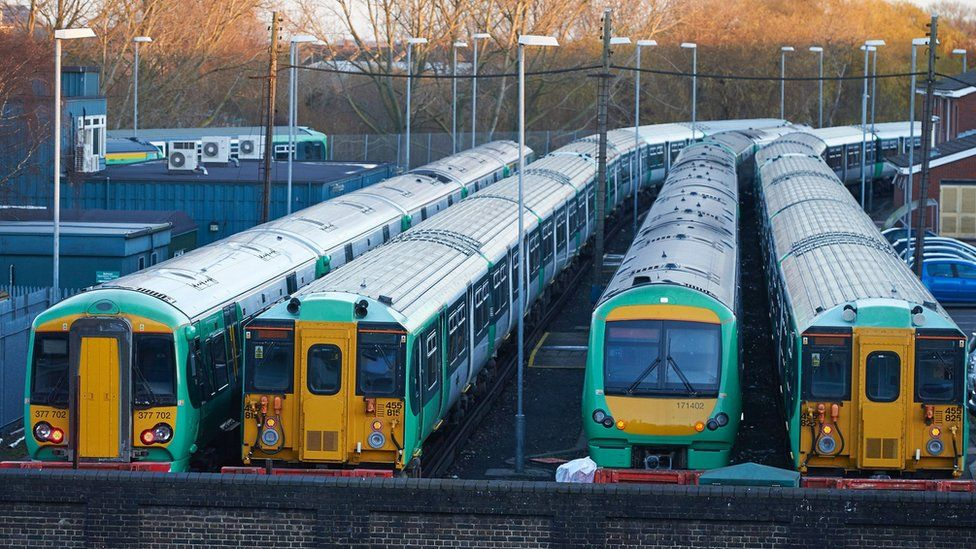 Trains parked in a depot during the strike