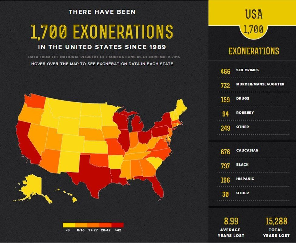 Map of exonerations