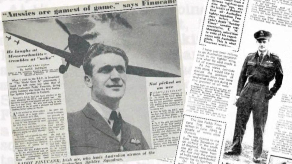 A newspaper clipping about Spitfire Paddy