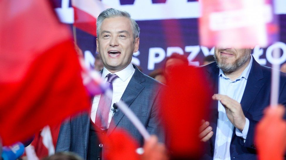 Robert Biedron of the Lewica coalition celebrates with supporters on October 13, 2019 in Warsaw, Poland