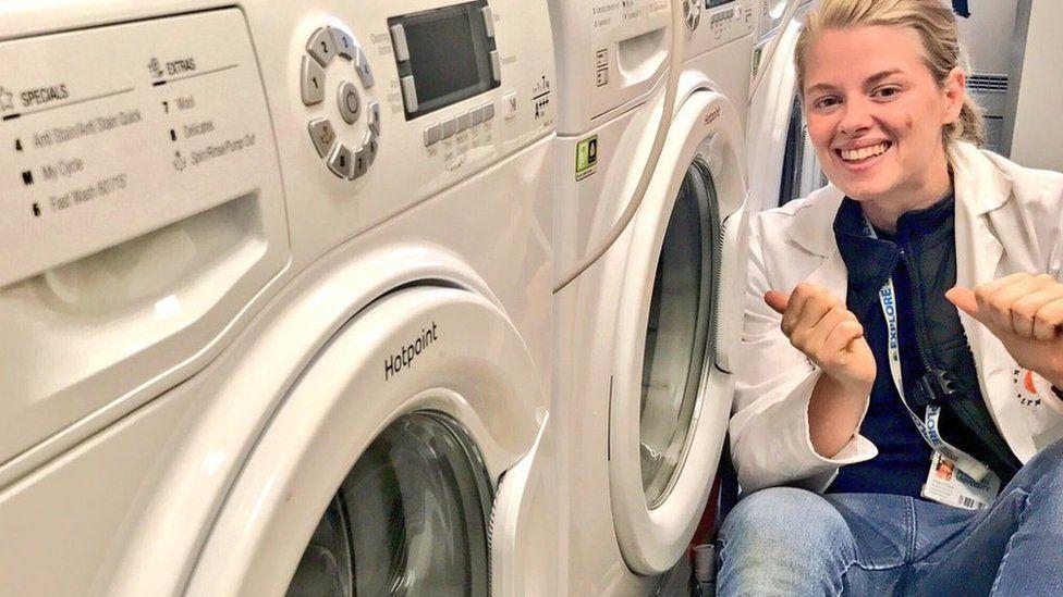 Imogen Napper in washing machine lab