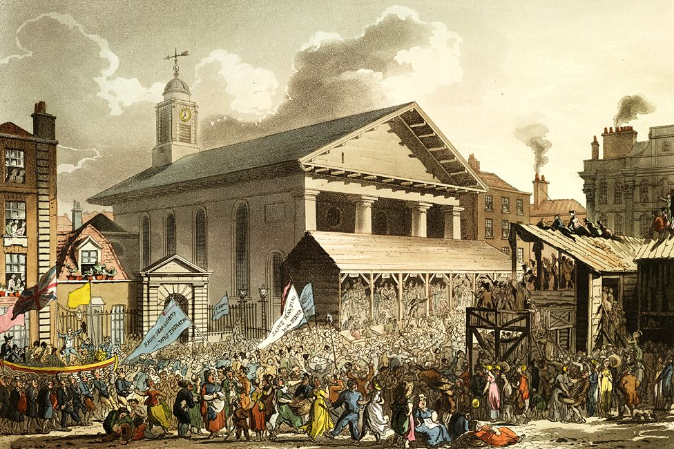 St Paul's Church in Covent Garden, London - depicted during election hustings in the piazza (artwork by Augustus Pugin)