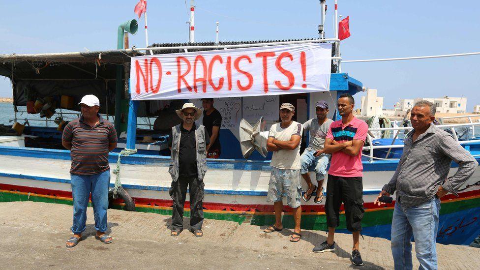 Tunisian fishermen in Zarzis protest against arrival of C-Star