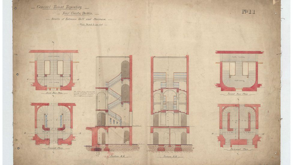 Original architectural drawings of entrance hall and staircase in the record house, 1864