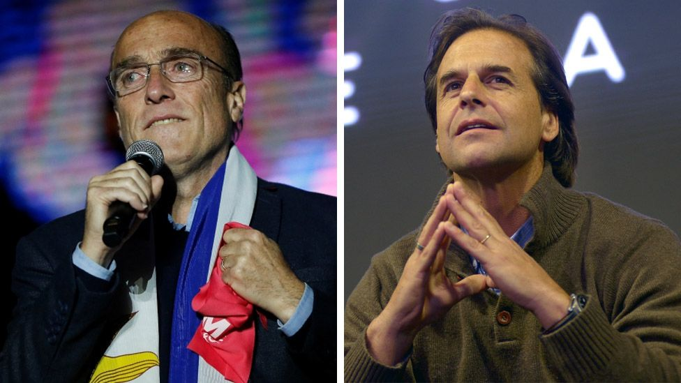 Uruguay's leading presidential candidates Daniel Martínez (l) and Luis Lacalle Pou