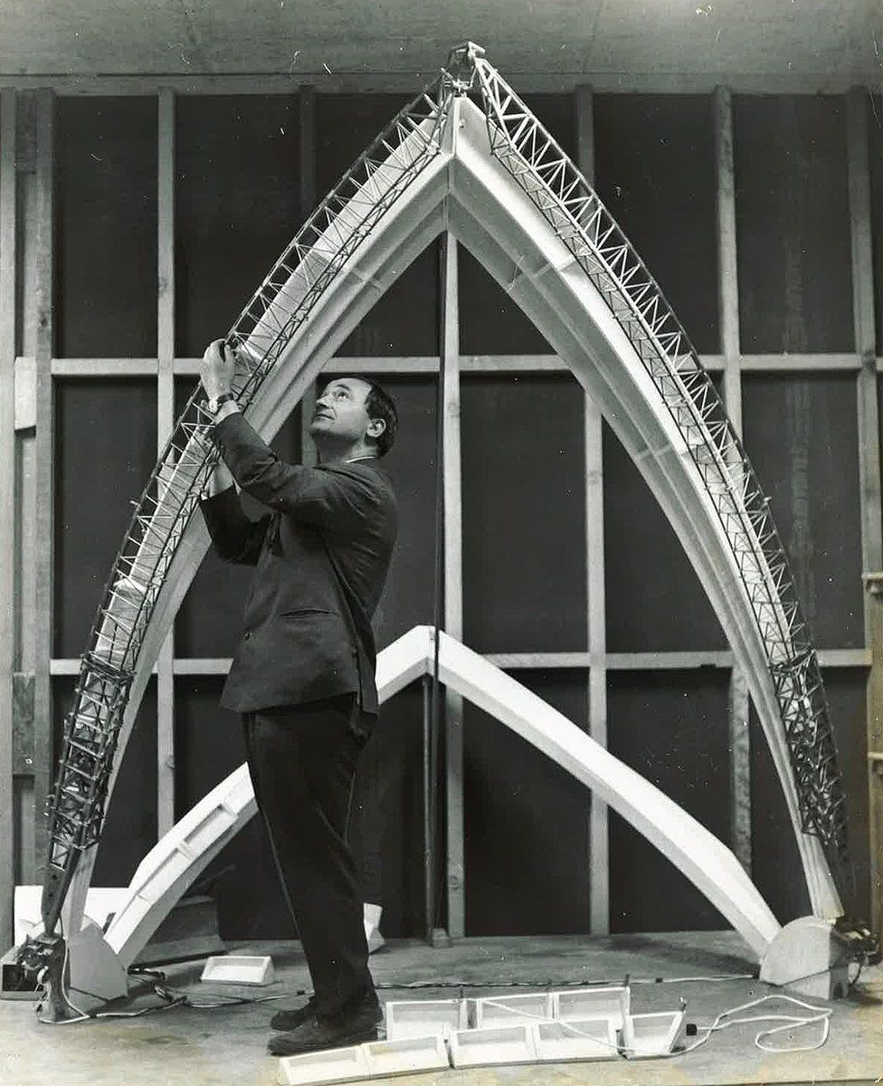 Bertony with model of arch