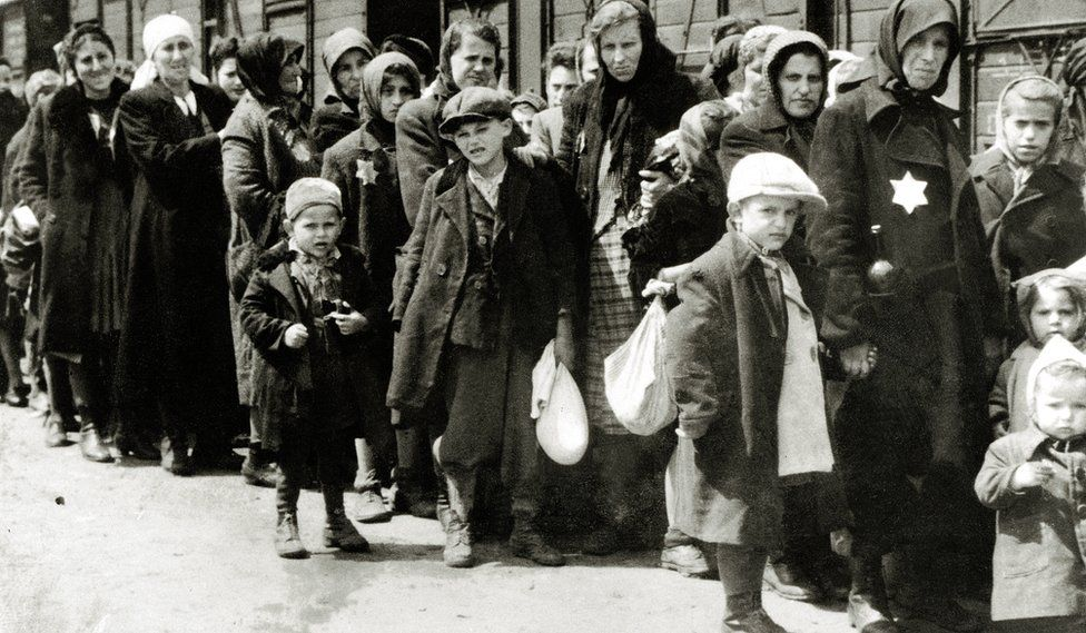 Hungarian Jews arrive at Auschwitz in July 1944