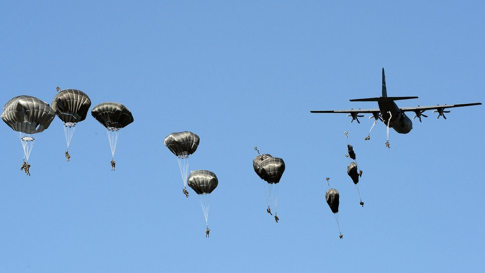Nato paratroops on exercises in Poland, 7 Jun 16