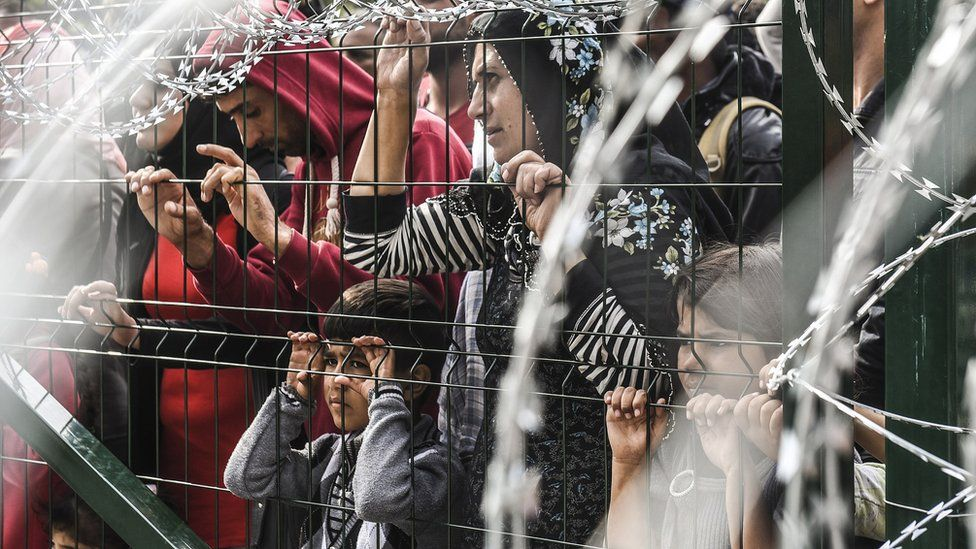 Refugees stand behind a fence at the Hungarian border with Serbia near the town of Horgos on September 16, 2015.