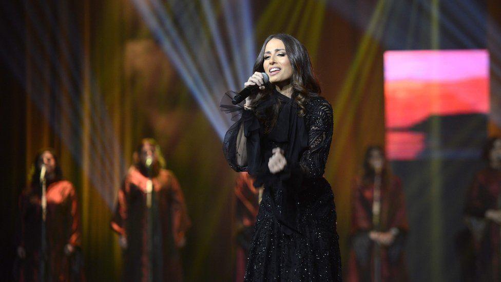 Lebanese singer Hiba Tawaji performs at the King Fahd Cultural Centre in Riyadh on 6 December 2017