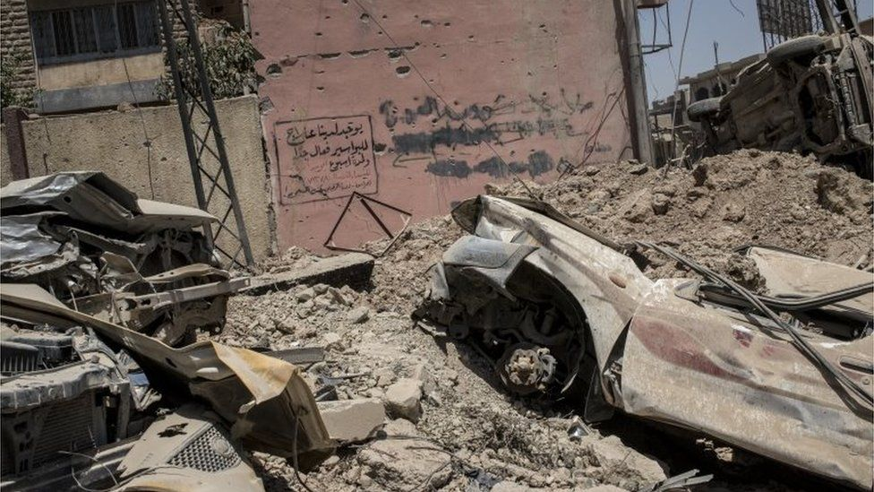 A street on the frontline against Islamic State in Bab Jded, west Mosul, Iraq on June 21, 2017