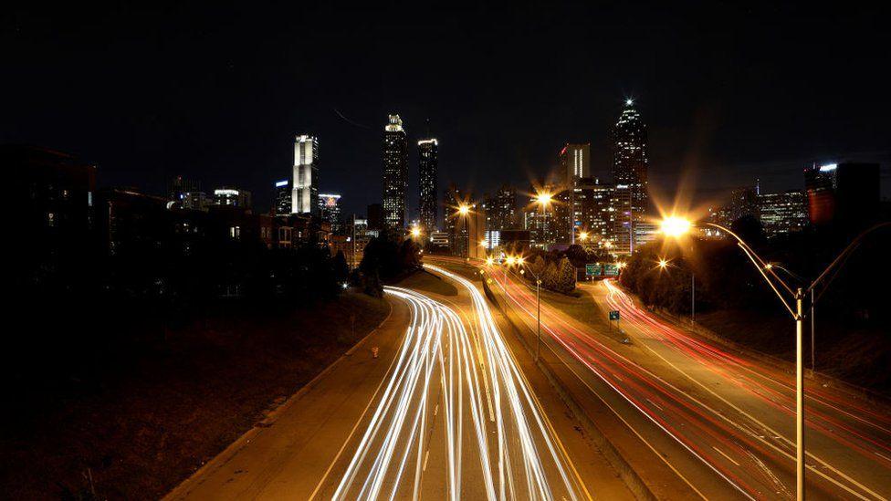 Downtown Atlanta skyline at night, photographed from the Jackson Street bridge in Atlanta