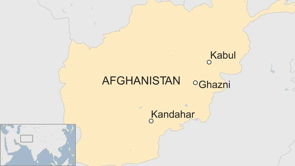 Map showing Ghazni, Kabul and Kandahar in Afghanistan
