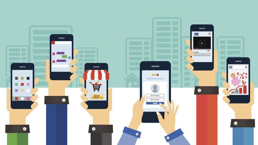 Ilustración de brazos sosteniendo celulares.