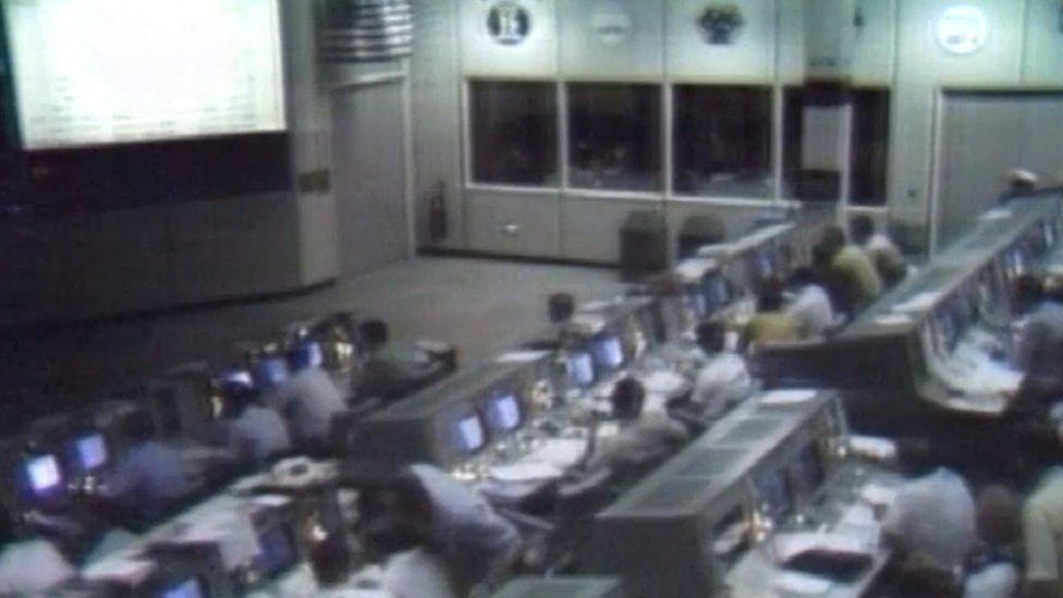 Nasa mission control on the TV programme