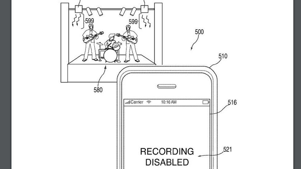 Apple patent drawing that depicts a concert and a disabled smartphone