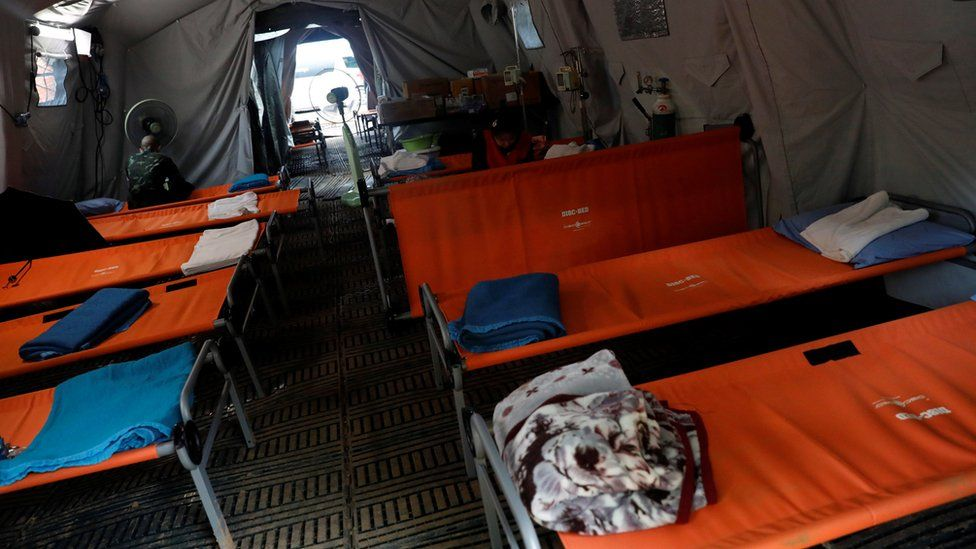 A temporary hospital outside the Tham Luang cave complex in Thailand, July 2018