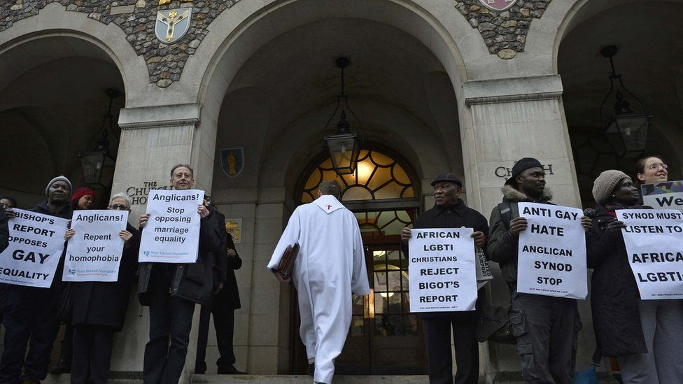 Protesters outside Church House