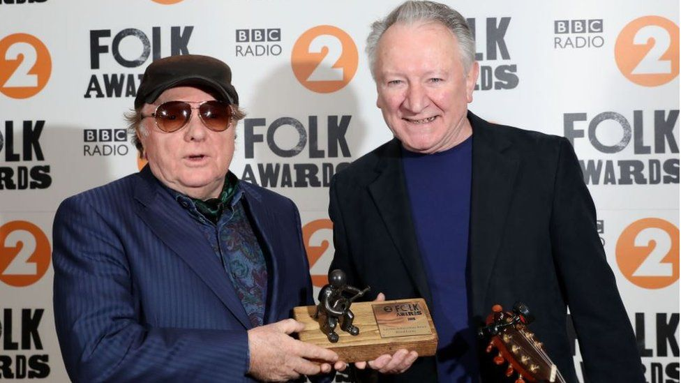 Van Morrison presented the Lifetime Achievement Award to musician and producer Dónal Lunny