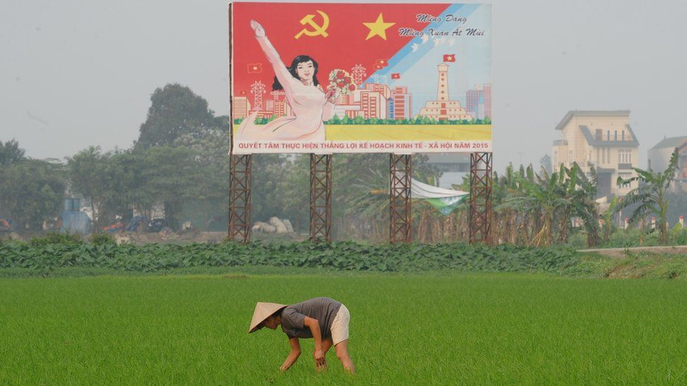 Farmer working in rice field with communist poster in the background