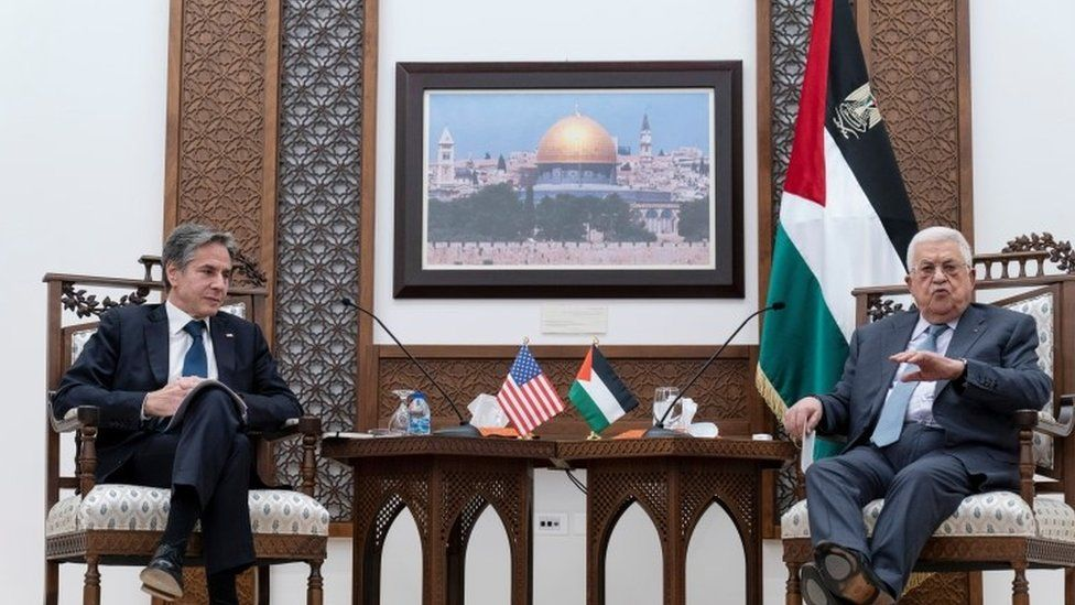 Palestinian President Mahmoud Abbas gestures as he speaks during a joint press conference with U.S. Secretary of State Antony Blinken