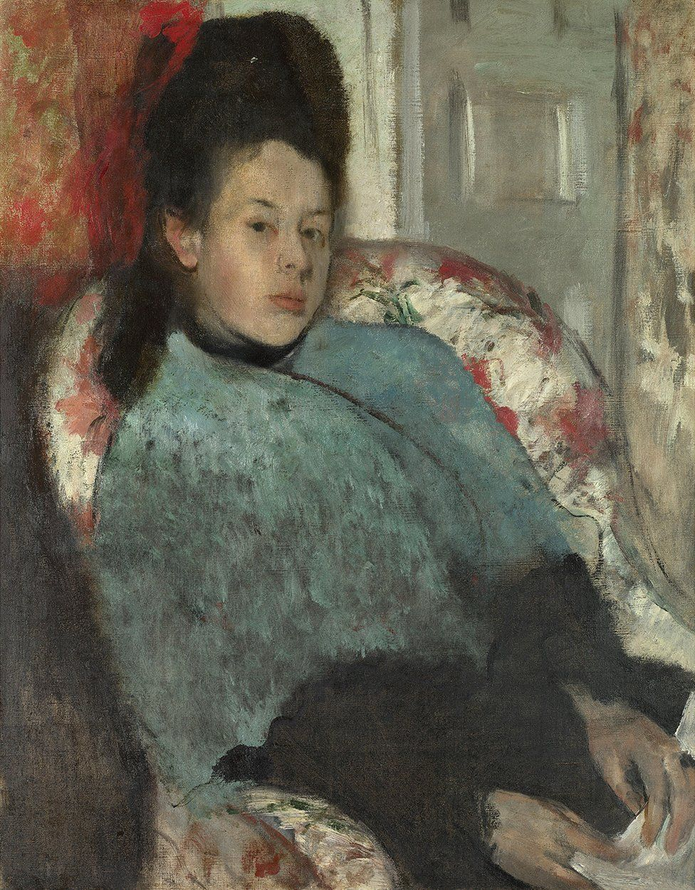 Portrait of Elena Carafa, c. 1875 by Edgar Degas, in the collection of the National Gallery, London