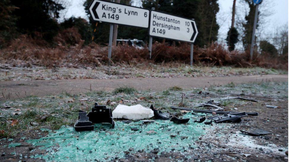 Traffic accident debris