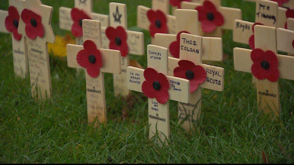 Poppies on crosses