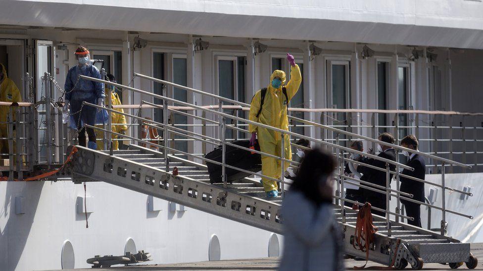 Crew members disembarking