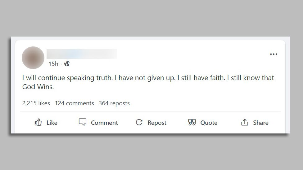 "Screenshots of a post by a QAnon influencer saying: ""I will continue speaking truth. I have not given up. I still have faith. I still know that God Wins."""