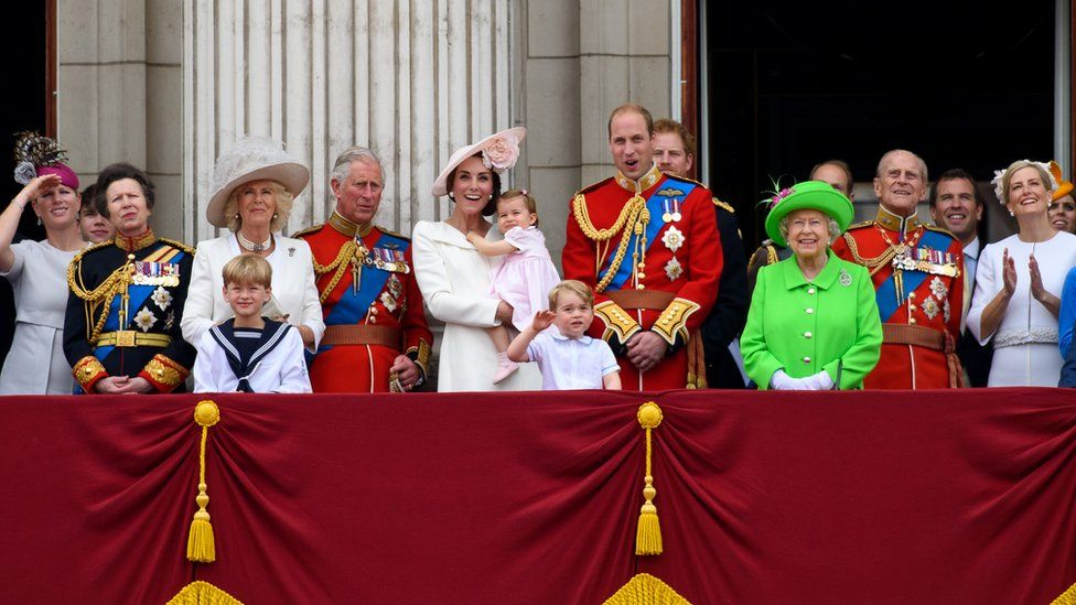 Members of the Royal family stand on the balcony of Buckingham Palace to watch a fly-past of aircrafts by the Royal Air Force in London in 2016