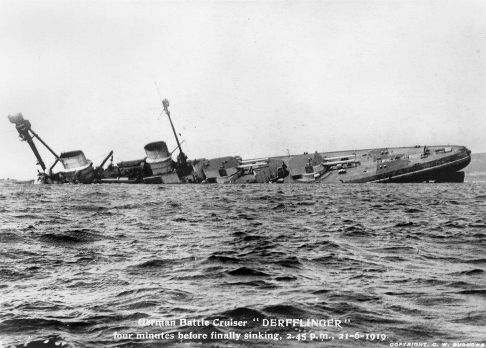 The Battlecruiser Derflinger just 4 minutes before she disappeared beneath the surface.jpg