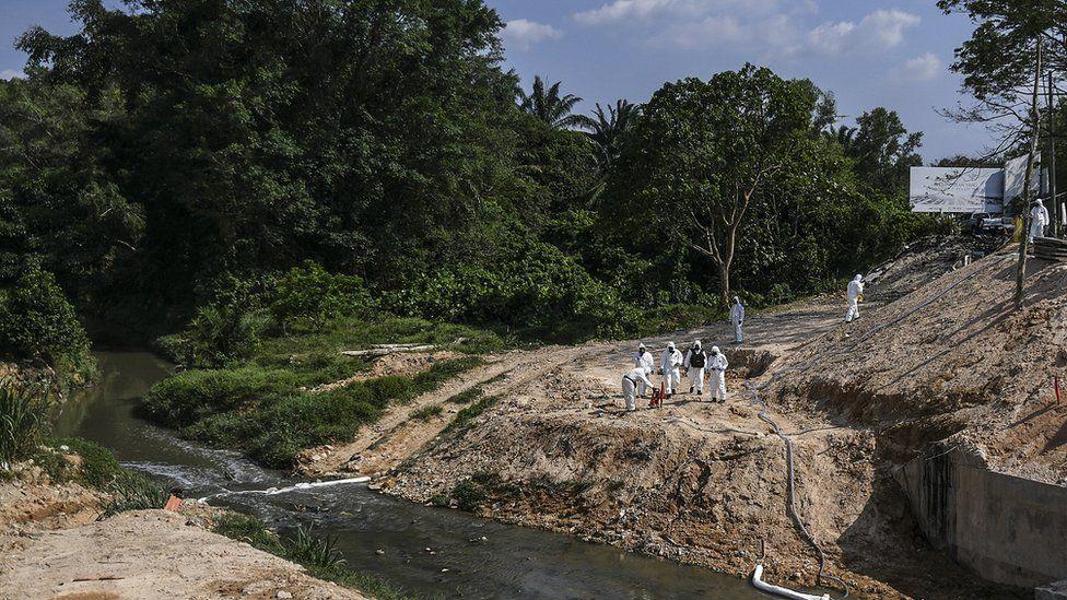 The Sungai Kim Kim river in Pasir Gudang, Johor state, Malaysia