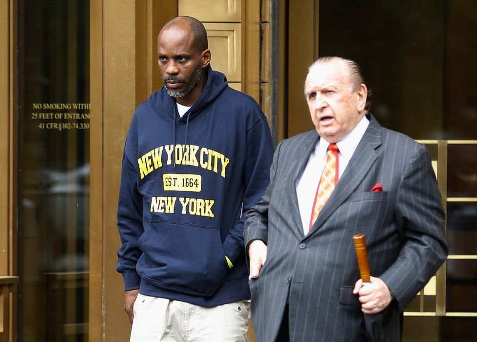 DMX leaving court with his lawyer Murray Richman