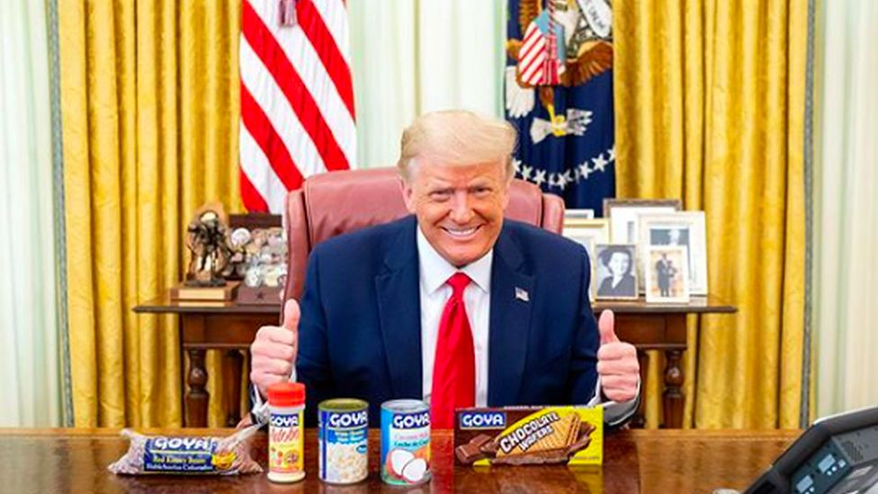 Donald Trump with Goya products