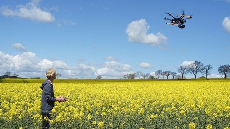Man flying a drone in a field