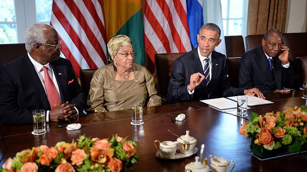 President Barack Obama speaks during a meeting with Liberian President Ellen Johnson Sirleaf, Guinean President Alpha Condé(R), and Sierra Leonean President Ernest Bai Koroma(L) in the Cabinet Room of the White House April 15, 2015