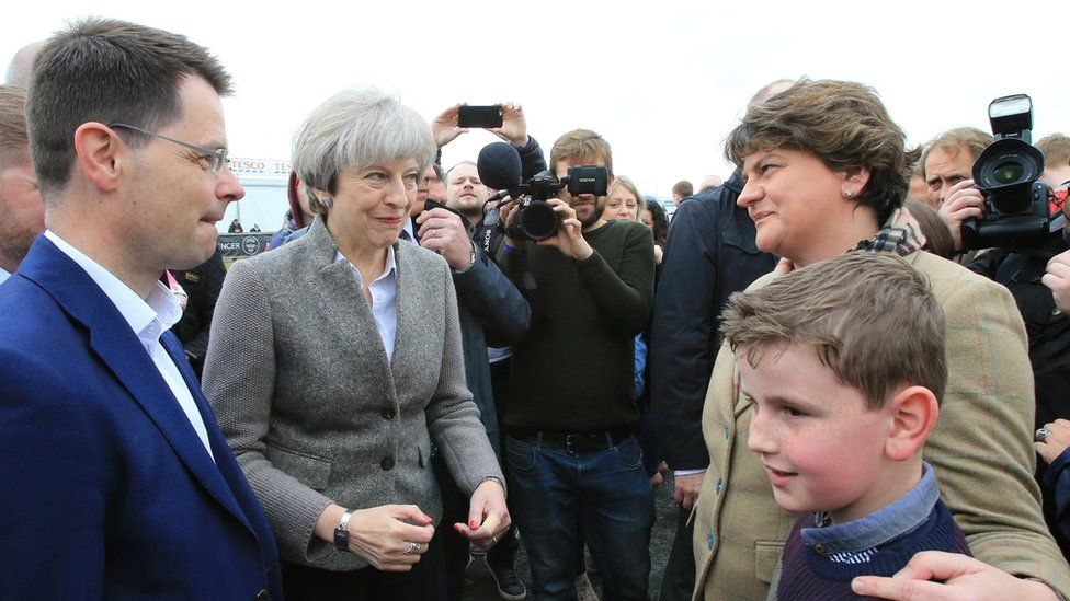 Northern Ireland Secretary of State James Brokenshire with UK PM Theresa May and DUP leader Arlene Foster