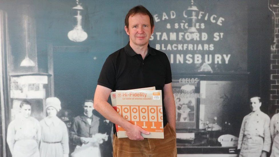 Bob Stanley with his Sainsbury's albums