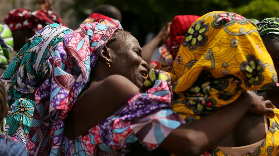 Schoolgirls kidnapped by Boko Haram are reunited with their relatives in Abuja, 2017