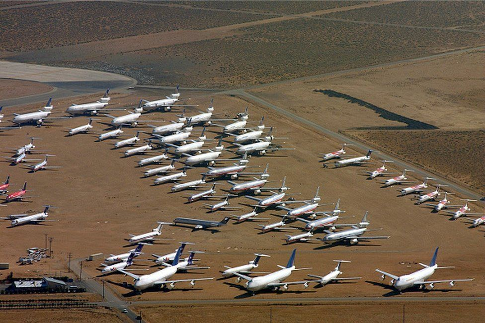Jumbo jets, DC 10's, Lockheed Tri Stars, DC 9's. Boeing 727 and 737's are among the planes in storage at the Mojave airport where more than 200 commercial jets sit with engines and windows taped , the result of the drop in air travel since the New York World Trade Center attack September 11, 2001