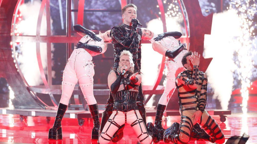 Picture of Hatari at the Eurovision SOng