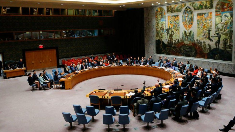 UN Security Council members vote on a US-drafted resolution toughening sanctions on North Korea, at the United Nations Headquarters in New York, on 5 August 2017