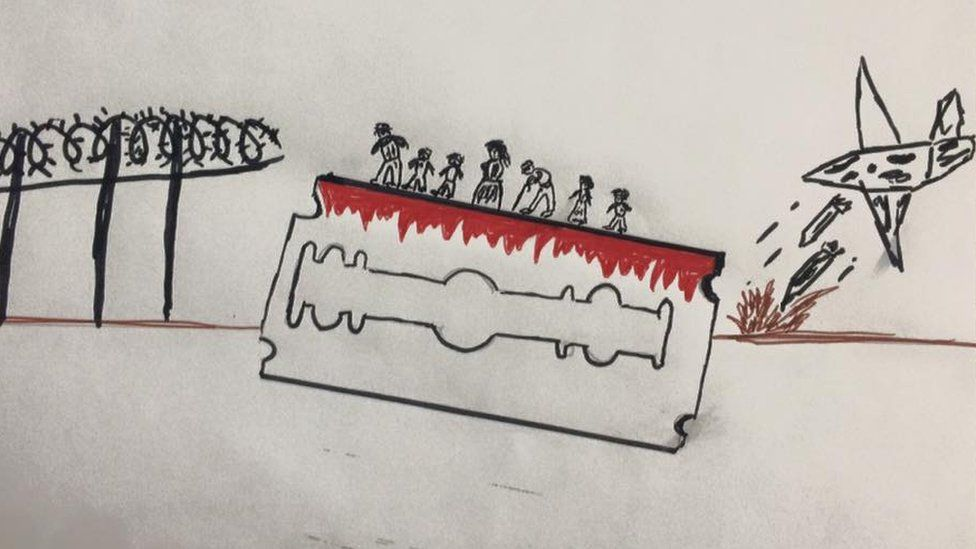 Drawings like this one by a child in a Lesbos migrant camp prompted volunteers to treat their water trauma