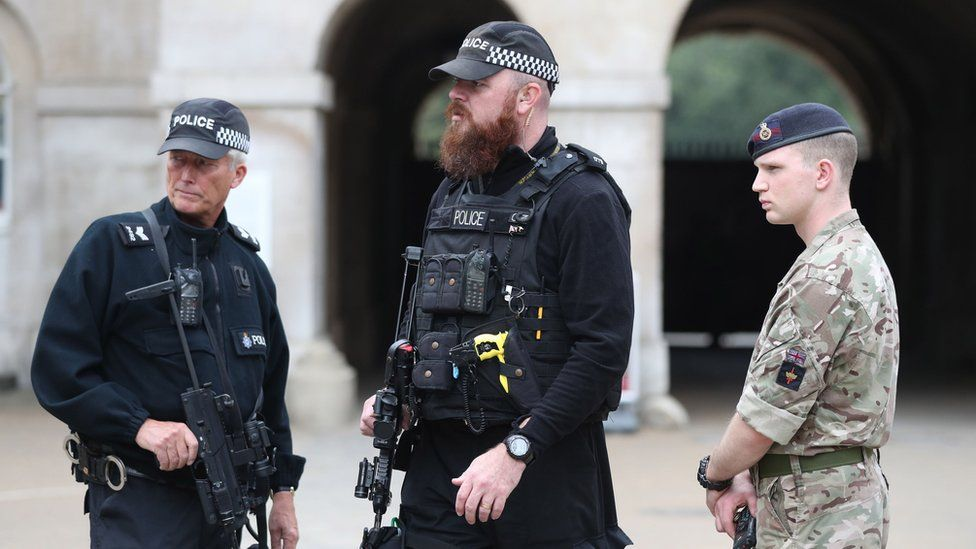 Armed police and a soldier outside Horse Guard's Parade