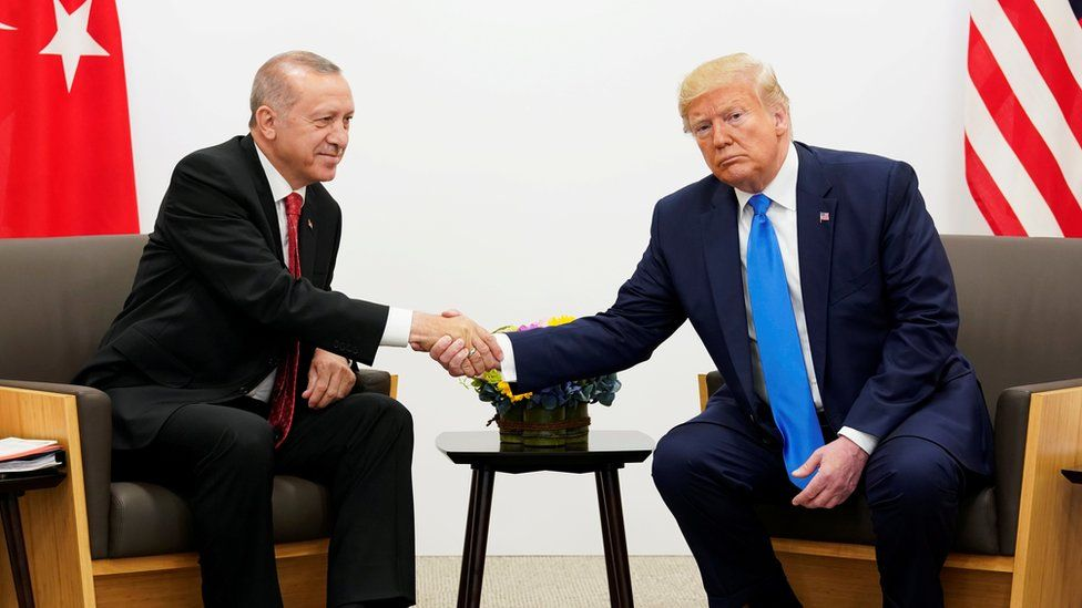 President Erdogan and President Trump at a bilateral meeting in Osaka, 29 June 2019