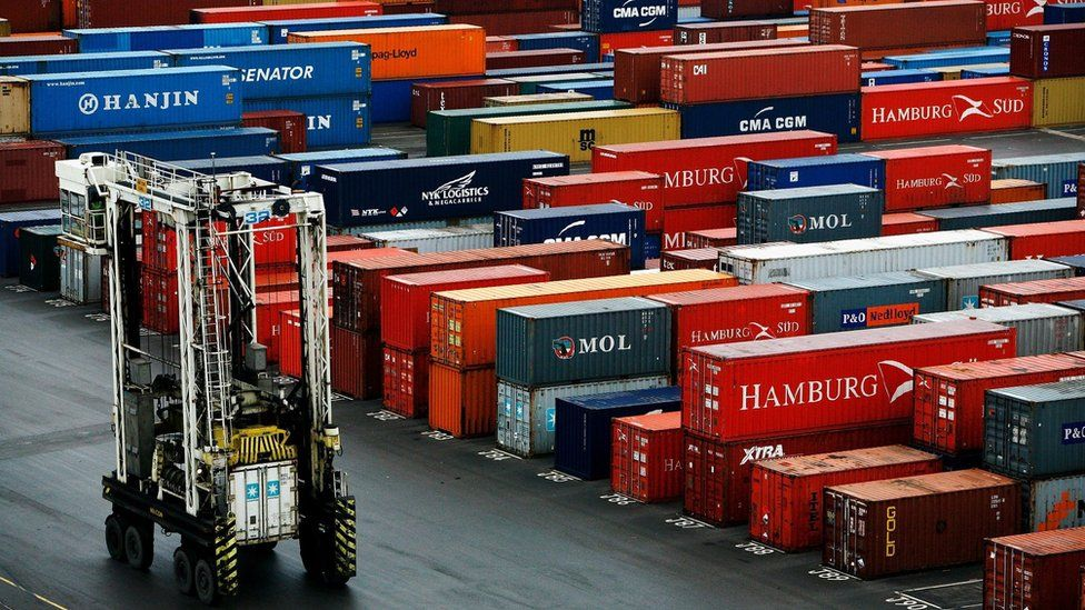 Containers in a dock