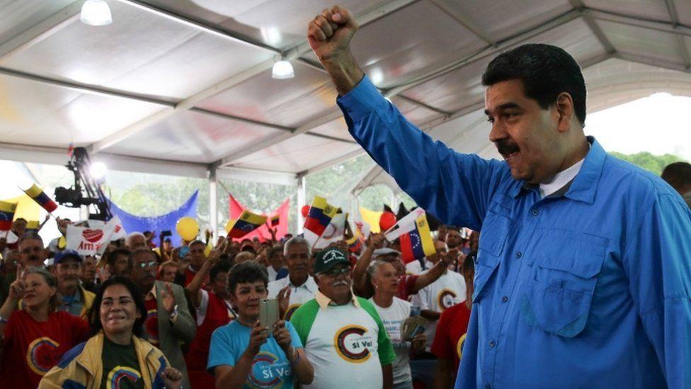 President of Venezuela, Nicolas Maduro, speaking to supporters in Caracas, Venezuela, on 25 July 2017.